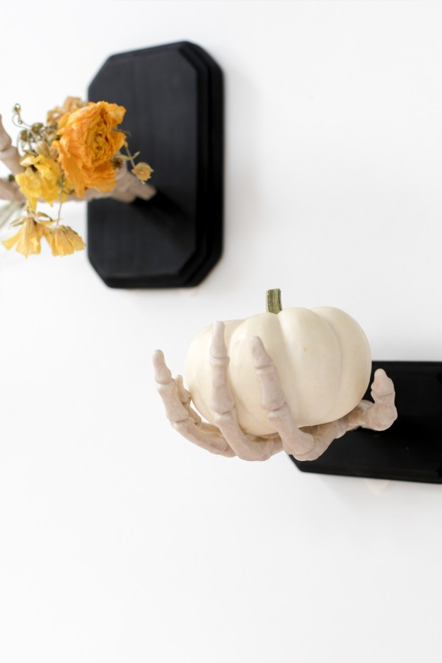 DIY Halloween Skeleton Hand Shelf Hook Wall Decor