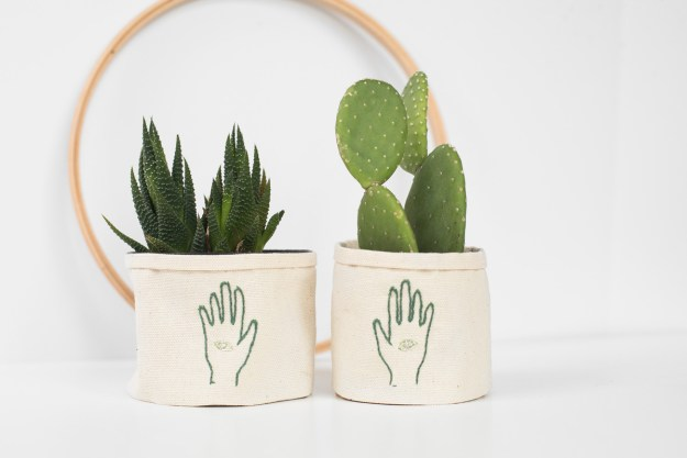 beginner DIY series embroidered no sew plant wrap