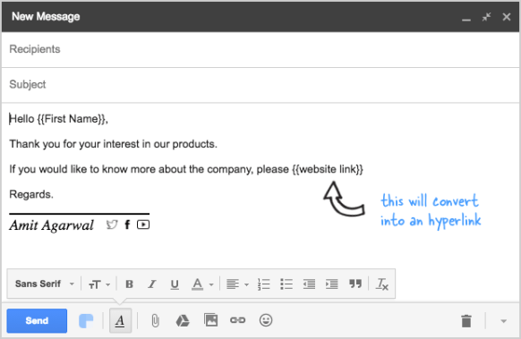 How to Include Unique Hyperlinks (URLs) in Email Messages