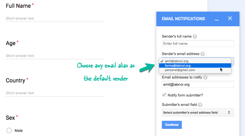 How to Send Google Forms Email Notifications from Another