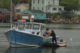 2 gals and a dog going our for Lobsters, Stonington ME