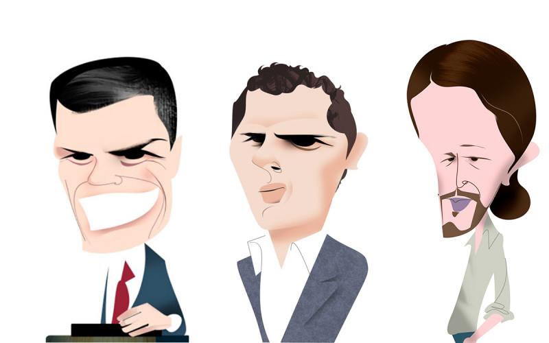 <p>Pedro Sánchez, Albert Rivera y Pablo Iglesias.</p>