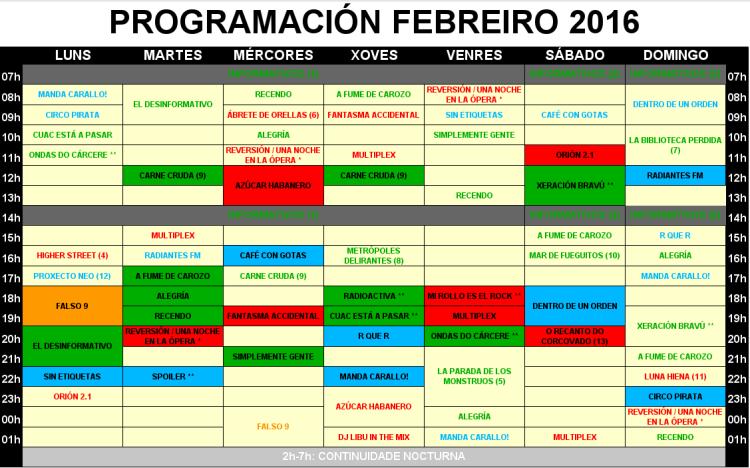 Grella de Programación de CUAC FM Febreiro 2016