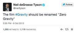 Imagen 1. En el tuit, deGrasse menciona que la película #Gravity debería ser renombrada como «Gravedad cero».