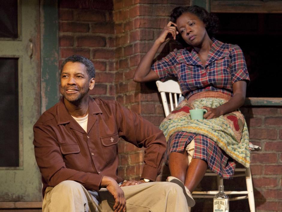 Denzel Washington  y Viola Davis que ganaron el Tony a mejor reposición (2010)