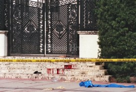 7/15/97, Randy Bazemore/Miami Herald Staff-- Blood on the steps of Gianni Versace's Ocean Drive mansion in Miami Beach. Versace was murdered tuesday mourning. (Permission to republish provided by the Miami Herald Media Co.)