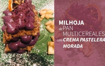 Milhojas de pan multicereales con crema pastelera morada – Receta de autor