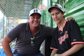 Our translator, Lester Bolla, with Vermont player Carter Monks.
