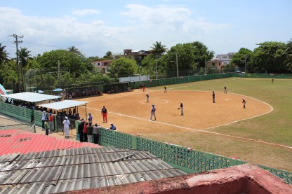 The view of Playa stadium from a nearby rooftop.