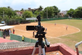 The Federation Nacional de Beisbol (National Baseball Federation of Cuba) brought me up on a nearby rooftop to get a great angle while filming.