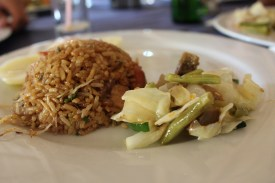 The two team enjoyed a dinner consisting of typical Cuban rice, vegetables, fish, pork, and chicken.