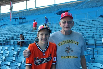 Carter Monks alongside his grandfather Jim Carter at the Estadio Latinoamericano.