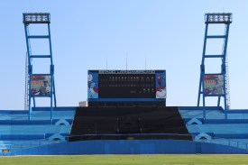 The scoreboard at the Estadio Latinoamericano, home of the Havana Industriales and the Cuban National Team. The stadium, which seats 55,000, is the largest in the country, and was home to the baseball game which President Barack Obama attended between the Tampa Bay Rays and the Cuban National Team.