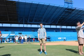 The author of this blog poses for a photo in the outfield of the Estadio Latinoamericano, home of the Havana Industriales and the Cuban National Team. The stadium, which seats 55,000, is the largest in the country, and was home to the baseball game which President Barack Obama attended.
