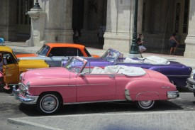 Classic cars in the Capitol district of Havana.