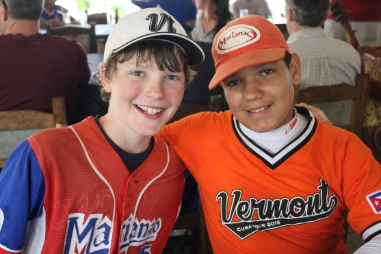 Vermonter Andrew Goodrich (left), with a Cuban player after exchanging jerseys.