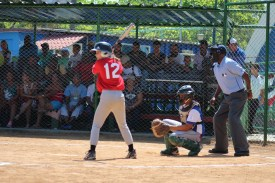 Anna Jenemann (#12) up to bat during the final ballgame of the week.