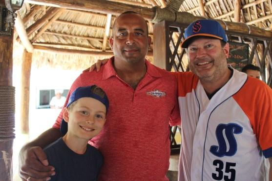 From left to right: Vermont player Nolan Simon, star Cuban pitcher Yosvani Aragon, and Vermont coach Tom Simon,.
