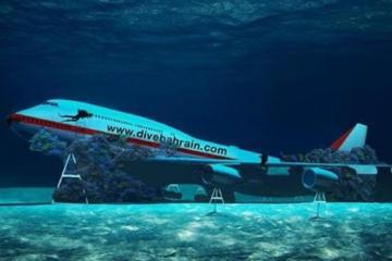 Avión bajo el mar