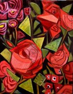 """""""Antique Roses"""" 16"""" x 20"""" framed oil and collage on plywood"""