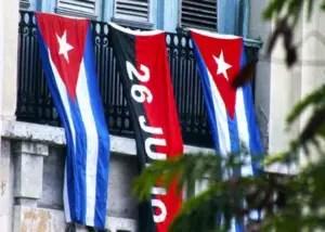 """Banderas de Cuba y del Movimiento """"26 de Julio"""""""