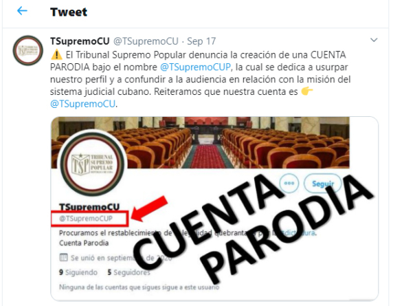 Cuenta parodia del Tribunal Supremo en Twitter provoca ira del régimen