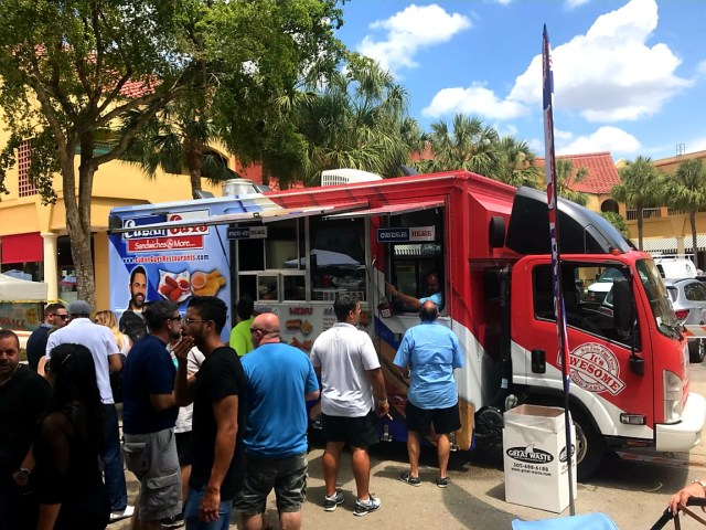 Food Truck with People in Line Picture