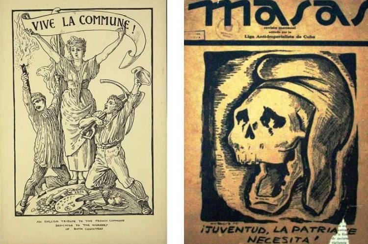 En las imágenes se representa lo explicado por Ernst Bloch. En la primera ilustración, obreros ingleses celebran republicanamente a la Comuna francesa (1848). En la segunda, obreros cubanos denuncian el contenido elitario, oligárquico, clasista y excluyente de la república realmente existente en Cuba hacia los 1930.