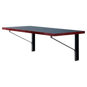 Kaari console Artek wall mounted desk. Black steel frame. Blue linoleum with red edge.
