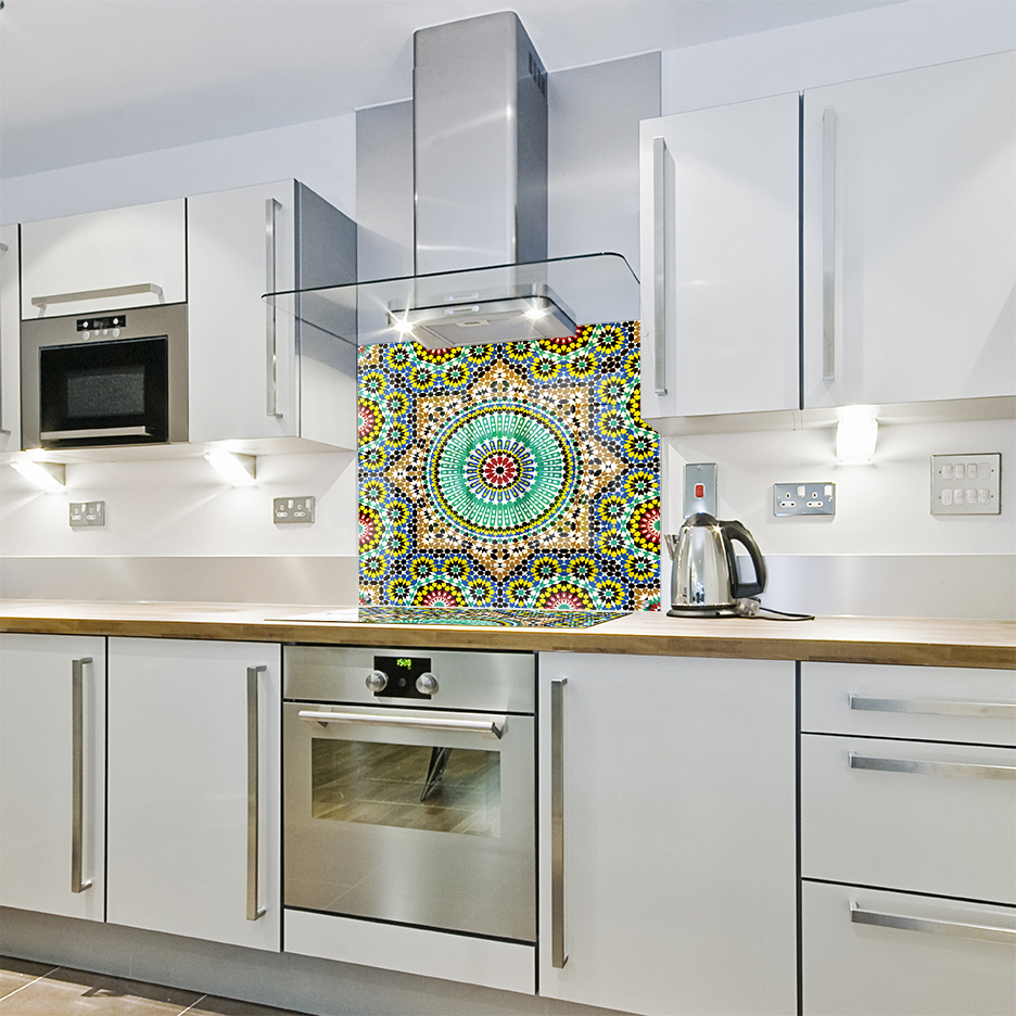 moroccan tiles printed glass kitchen