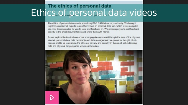 Ethics of personal data videos