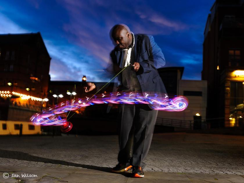 Jamming with a LED diabolo - Photo credit Ian Wilson