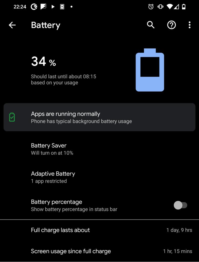 34% battery on my Pixel4