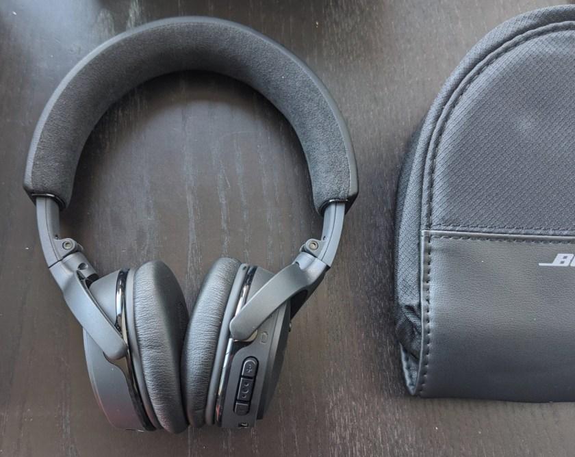 Black Bose on ear headphones