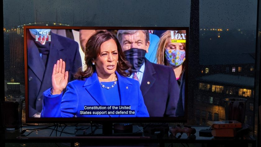Kamala Harris being sworn in as vice president