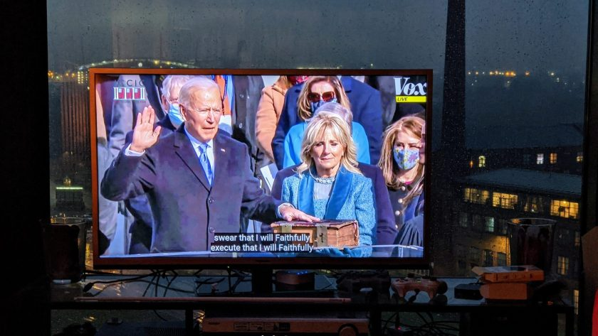 Joe Biden being sworn in as 46th president