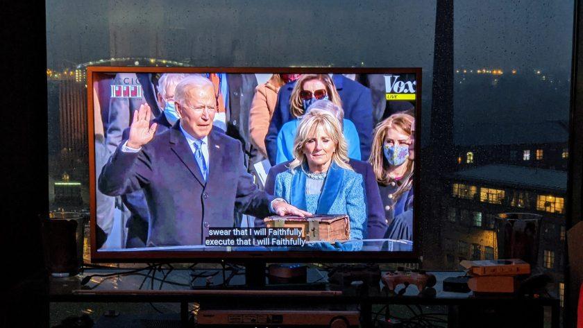 Joe Biden being sworn in as 46th president