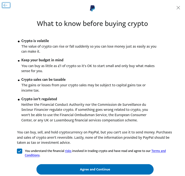 Confirming crypto in Paypal