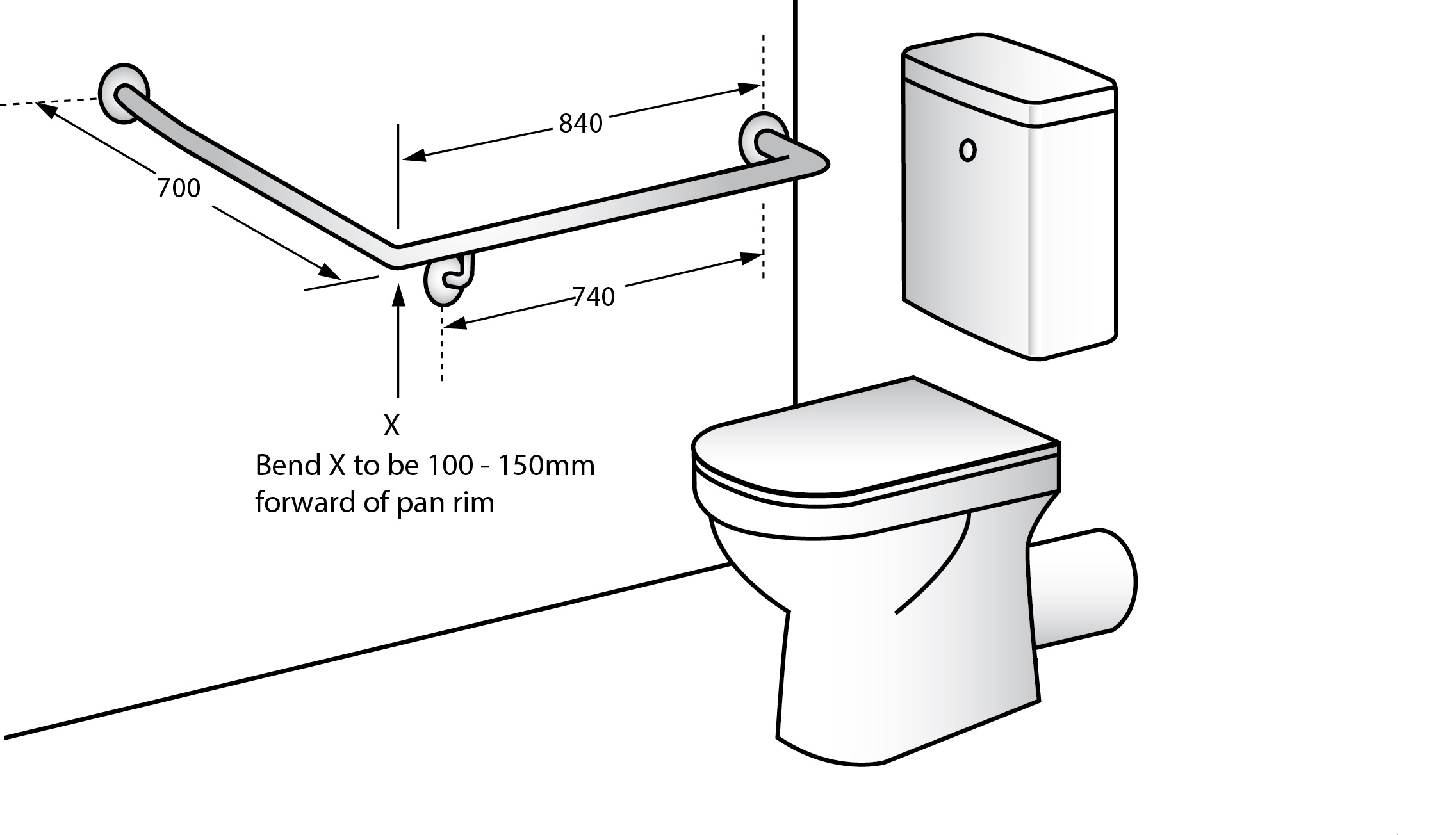 Accessible Right Hand 30 Grab Rail Concealed Fix