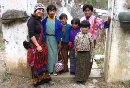 bhutan-bumthang-by-lindsey-weaver-tasha-with-bhutanese-school-girls-2006