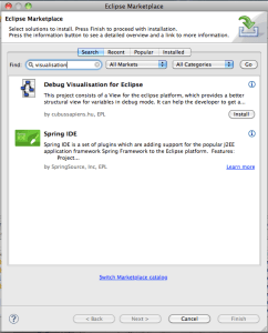 The Eclipse Marketplace Client allowing the installation of the Debug Visualisation plug-in