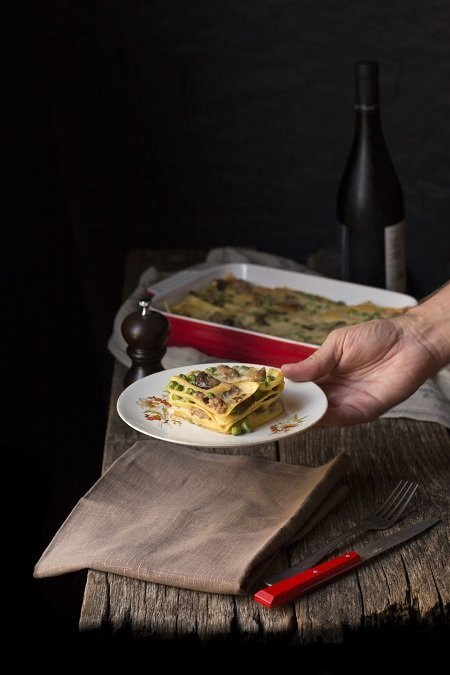 lasagna funghi e piselli