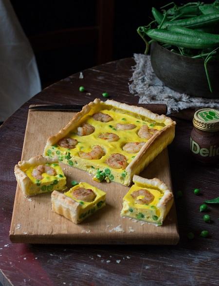 torta salata con piselli