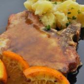 Bistecchine di Maiale all'arancia e Patate alla Crema