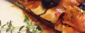 Bruschettona con filetto di merluzzo alla pizzaiola