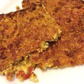 Tortino di tofu e pane alla curcuma