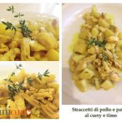 Straccetti di pollo e patate al curry e timo