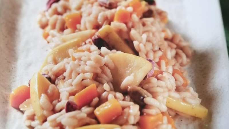 Risotto all'Amarone con zucca e mele renette