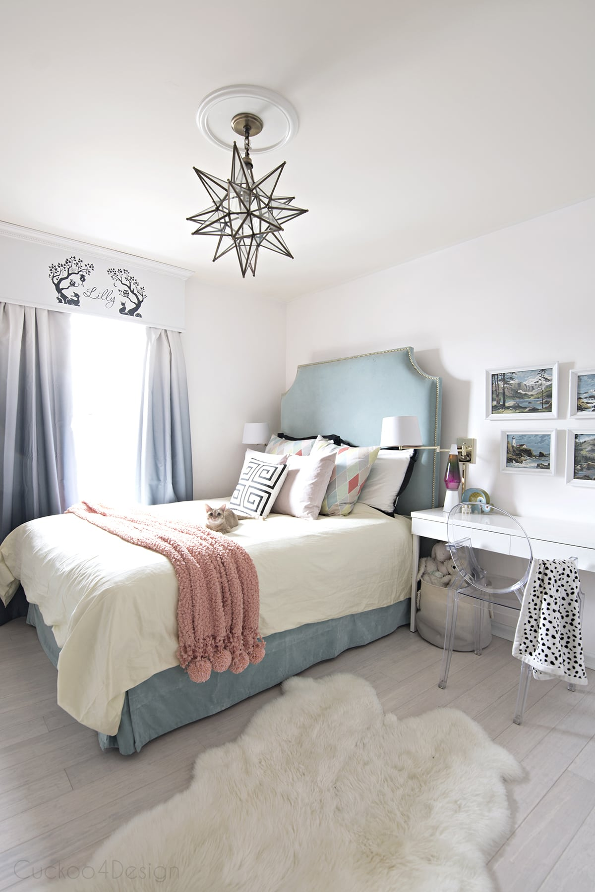 Teal, turquoise, coral and yellow girls bedroom ... on Girls Room Decoration  id=17931