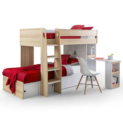 Triple Bunk Bed With Desk Novocom Top